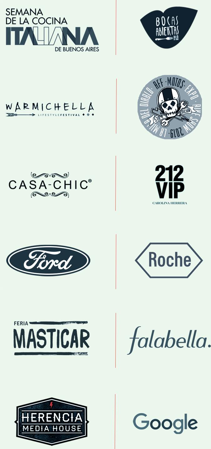 Lista de logos de marcas que colaboran con Vespress